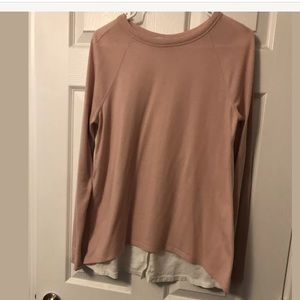 Loft Long Sleeve Shirt Tail Mixed Media Top